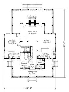 Love the plan. But I would make the master bigger. All the way to the end of the fireplace and make a hallway to the pillar in front of the laundry room. Best House Plans, Small House Plans, House Floor Plans, Gable House, Southern Living House Plans, Custom Home Plans, Cottage House Plans, Farm House, Farmhouse Plans