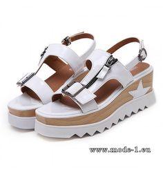 Plateau Zipper Sommer Sandalen in Weiß