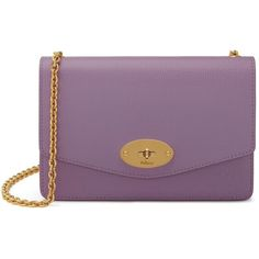 Mulberry Small Darley (2,360 PEN) ❤ liked on Polyvore featuring bags, handbags, lilac, purple handbags, mini handbags, chain strap bags, mulberry handbags and chain shoulder bag