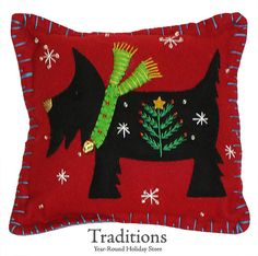 Handmade holiday Scottie pillow - Like the green with the other traditional Christmas colors.
