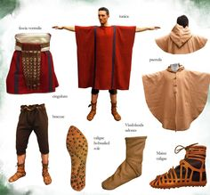 Roman Outfit 1st cent, Ancient Rome - Roman clothing - Roman Outfit 1st cent, Full Roman outfit (0 -100 d.c), square Tunica cum clavi (stripes), band ventralis (waistband), braccae (trousers) just-under-the-knee length,