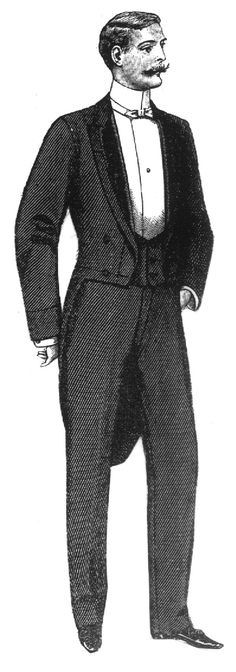 1900-1920 Costume for Men. Tailcoats were worn for evening dress among other suit items.