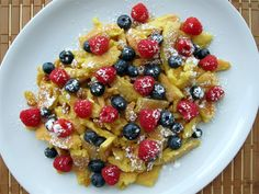 """Kaiserschmarrn (meaning """"the emperor's mishmash"""") is an Austrian dessert that originated in the former Austro-Hungarian Empire. The dish surrounds the ambiguous legend of Austrian Emperor Francis J. Austrian Desserts, Austrian Recipes, Hungarian Recipes, Hungarian Food, Waffles, Pancakes, Crepes, German Breakfast, Baking Recipes"""