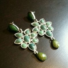 3 for $10Earrings Condition: Preloved Flaws: None Color: Silver with Dark Green stones Jewelry Earrings