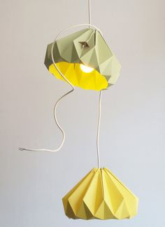 Paper flower lampshade. So lovely!  Designed by Kenneth and Nellianna, buy online at Etsy.