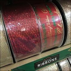 Judging by the quantity fielded by this Members-Mark Private-Label Christmas Ribbon merchandising, a Holiday rush was expected. Ribbon Display, Christmas Ribbon, All Gifts, Private Label, Hanukkah, Retail, Gift Wrapping, Stuff Stuff, Gift Wrapping Paper
