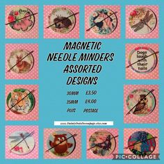 Magnetic needle minders handmade lots of new designs added to my shop today. #needleminder #crossstitch #sewing #embroidery #butterfly #dogs #cats #stitching #magnets #needleminder #needlemagnet