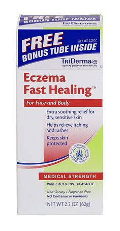 Eczema Fast Healing™ Cream. This powerful cream provides extra soothing relief for itching and red, irritated, dry, cracked skin.  It works quickly to soothe skin and relieve eczema flare-ups or rashes.  It contains NO Cortisone or other harmful drugs so it is safe to use head to toe, as often as needed.  It provides intensive long lasting relief so you can get on with your day. 2.2 oz tube $15.99