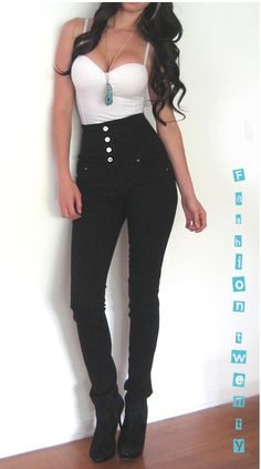 High-waisted pants... I would LOVE to be able to wear this outfit!!