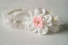 Wyjątkowa opaska ivory, różowa,na chrzest, święta - MadebyKaza - Opaski dla niemowląt