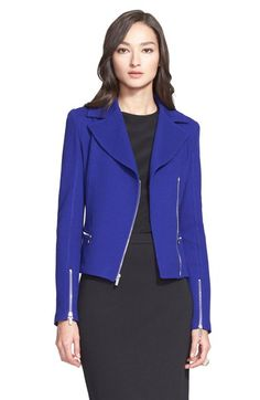 St. John Collection Milano Piqué Knit Asymmetric Moto Jacket available at #Nordstrom