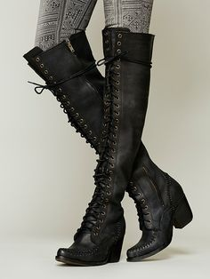James Lace Up Boot - I love these cutest knee high boots.but im too short to wear them. If i put on one i look like a dwarf James Of Arci, Campbell James, Tall Boots, James Lace, Knee . Ugg Boots, Bootie Boots, Shoe Boots, Goth Boots, Punk Shoes, Ankle Booties, Combat Boots, Crazy Shoes, Me Too Shoes