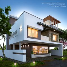 Modern_house_exterior_elevation by: sagar morkhade (vdraw architecture) Modern Bungalow Exterior, Bungalow House Design, Modern House Design, Diy Ikea Hacks, Design Exterior, House Elevation, Villa Design, Modern House Plans, New Home Designs