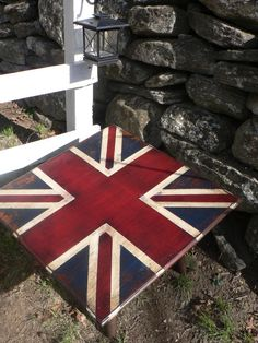 ViNtAge Antique British UNION JACK flag coffee table End