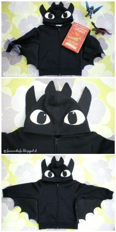 Faccio e Disfo - Dragon Trainer: il costume di Sdentato . How to train your dragon: Toothless costume This would be easy to make with a black hoodie and some material Up Costumes, Diy Halloween Costumes, Halloween Kids, Halloween 2014, Dragon Birthday, Dragon Party, Diy Dress, Fancy Dress, Toothless Costume