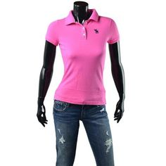Abercrombie & Fitch Polo Shirt Womens A NEW Pink Lucy