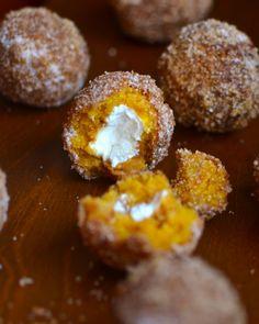 Pumkin Doughnut Holes Stuffed with Cream Cheese   Recipe Index   Yammie's Noshery