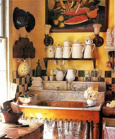 A Very Colourful Kitchen... I Like It!!! I Love the Hand-Cranked Sharpening Wheel on the Butcher Block!!!