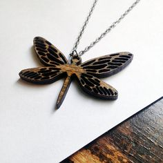 Perfect for a Dragonfly lover :) Wooden Dragonfly Necklace, Laser Cut Jewelry, Wood, holiday gift