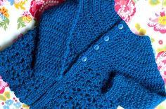 Baby girl sweater cardigan -- free crochet pattern.