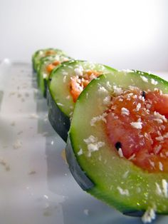 Ketogenic Diet Recipe - Smoked Salmon, Avocado Cucumber Sushi #ketogenicdiet #keto #lowcarb