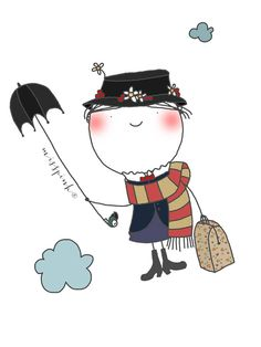 Miss Mary Poppins Mary Poppins, Children's Book Illustration, Graphic Design Illustration, Under My Umbrella, Cute Images, Conte, Clipart, Rock Art, Cute Art