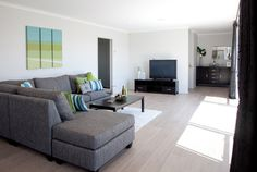 Underfloor heating and a heat pump provide warmth in the cooler months.