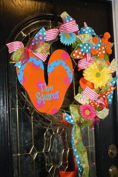 Flip flop Summer wreath by Classybutsassygifts on Etsy, $75.00