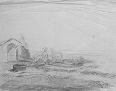 Ermanno Besozzi pittore 1946 Pecore matita su carta cm. 23x29 arc. 1160