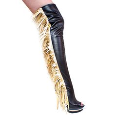 """3307TH Black Leather with Fringes, with zipper, Open Back and Open Toe, 6"""" Alvina Platform $181.97"""