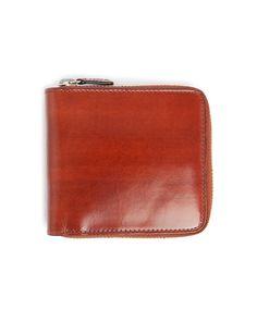 Zip Around Wallet Cuir Marron Clair Interieur Naturel