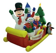 """8' Airblown Inflatable Snowman Family Sleigh Lighted Christmas Yard Art Decor by LB International. $124.99. 8 Foot Snowman Family Sleigh Lighted Inflatable Yard DecorationItem #EEB-ISL010240Features:Sign reads """"Snowman Carolers""""Durable weatherproof nylonSelf inflates in minutesBlower included - simply plug this decoration in and it inflates and lights up in just a few minutes!Collapses quickly for easy storageAdditional product features:UL listed for indoor/outdoor ..."""