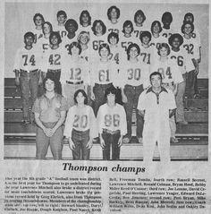 South Belt Houston Digital History Archive: 1978 Thompson Champs 8th Grade A Football Team