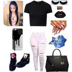 Plain but simple by xbabyxdesx on Polyvore featuring polyvore fashion style MICHAEL Michael Kors Casetify eylure Thierry Mugler Lime Crime