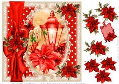 Beautiful Red Poinsettia Lantern topper on Craftsuprint designed by Julie Hutchings - beautiful topper nice and easy to make just print and cut the decoupage and add to a card base to make a stunning card - Now available for download!