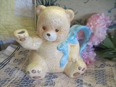 *~* This is Just Darling Little Teddy Bear Tea Pot. He is so detailed The spout and the paws of his foot. Darling Blue and white Poka Dot Bow