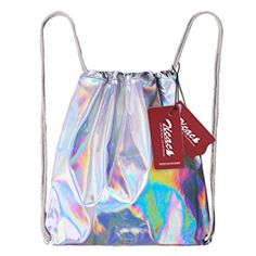 Zicac Street Fashion Laser Pu Leather Colorful Holographic Bling Glitter Reflective Mirror Surface Backpack School Shoulder Bag Gym Tote Drawstring Casual Daypacks (Silver)