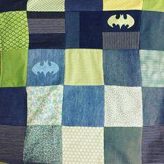 Babytæppe, Batman, krea, håndarbejde, denim.