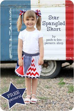 Star Spangled Skort Free Pattern - Peek-a-Boo Pattern Shop: The Blog   PATTERN sizes 2T-4T