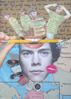 original art by gloria e. One direction. art. fan art. 1D. mixed media. collage. magazine cut outs. map. telephone pages. marker. cardboard.