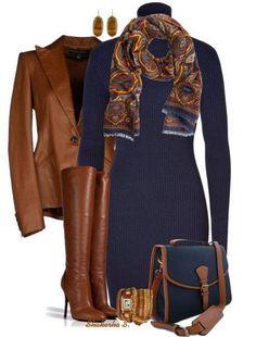 Nogmaals donkerblauw met cognackleur contrast, smaakvol!