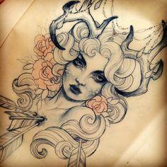 Pfeil | durchbohrt | durchbohren | durchgebohrten | Frau | Woman | Girl | Hörner | Rosen Blumen | Flowers | Frauengesicht | Gesicht | Womanface | Face