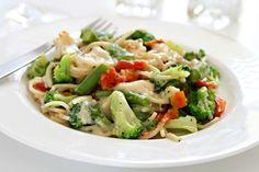 Špagety v omáčce z brokolice a sýra