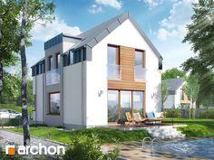 Dom w andromedach (P) Prosty i ekonomiczny dom z podpiwniczeniem, przeznaczony do budowy na wąskich działkach. Uwagę zwraca nowoczesne wykończenie elewacji – szklane balustrady, duże przeszklenia, prosty dach bezokapowy, drewniane fragmenty elewacji oraz efektowna lukarna z boku domu. Strefa gospodarcza w całości zlokalizowana została w piwnicy. Zobacz więcej na: http://archon.pl/gotowe-projekty-domow/dom-w-andromedach-p/m24420c75c8a87