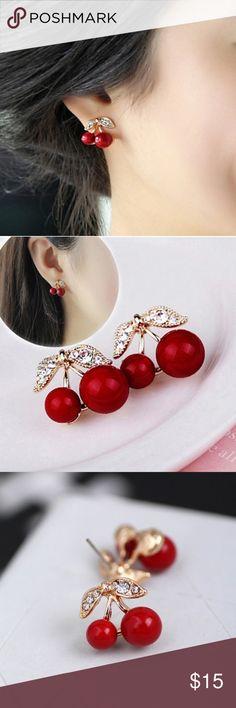 Lovely Cherry Earrings Lovely Red Small Cherry Stud Earrings Jewelry Earrings