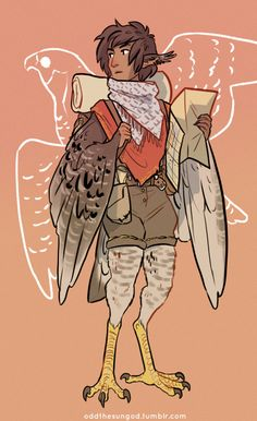 "oddthesungod: ""Explorer harpy boy, his name is Tau. He's based on a peregrine falcon c: """