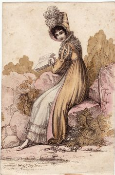 One can just imagine this Regency Lady is reading a naughty romance novel :)