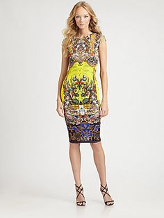 Roberto Cavalli Citronelle Print Jersey Knit Dress