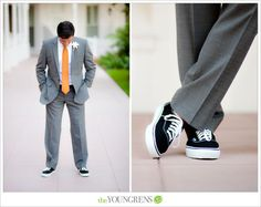 Groom Style, bright tie, white shirt, gray suit, baller shoes/specialized sneakers