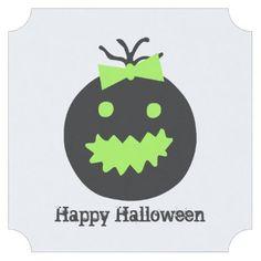 #Cute Halloween pumpkin with bow Paper Coaster - #cute #gifts #cool #giftideas #custom